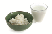 kefir in bowl with kefir water in glass