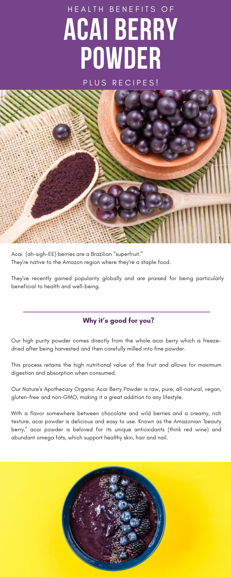 "Our high purity powder comes directly from the whole acai berry which is freeze-dried after being harvested and then carefully milled into fine powder.   This process retains the high nutritional value of the fruit and allows for maximum digestion and absorption when consumed.  Our Nature's Apothecary Organic Acai Berry Powder is raw, pure, all-natural, vegan, gluten-free and non-GMO, making it a great addition to any lifestyle.  With a flavor somewhere between chocolate and wild berries and a creamy, rich texture, acai powder is delicious and easy to use. Known as the Amazonian 'beauty berry,"" acai powder is beloved for its unique antioxidants (think red wine) and abundant omega fats, which support healthy skin, hair and nail."