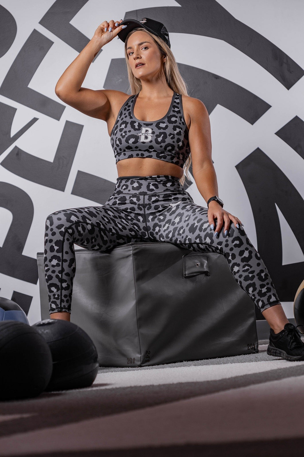 Women's Leopard Print Leggings and Sports Bra Set - Grey