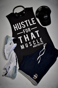 "Men's ""HUSTLE FOR THAT MUSCLE"" Sleeveless Tank Top"