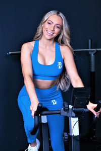 Womens Solid colour Leggings and Solid Sports Bra Set - Primary Blue
