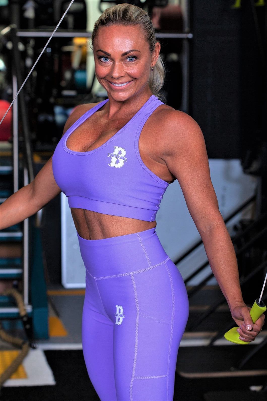 Womens Solid colour Leggings and Solid Sports Bra Set - Purple
