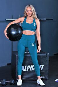 Womens Solid colour Leggings and Solid Sports Bra Set - Night Green