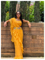 Yellow Ruffle Saree