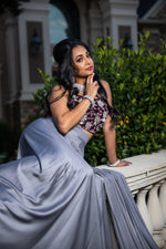 Wine & Grey Lehnga Set