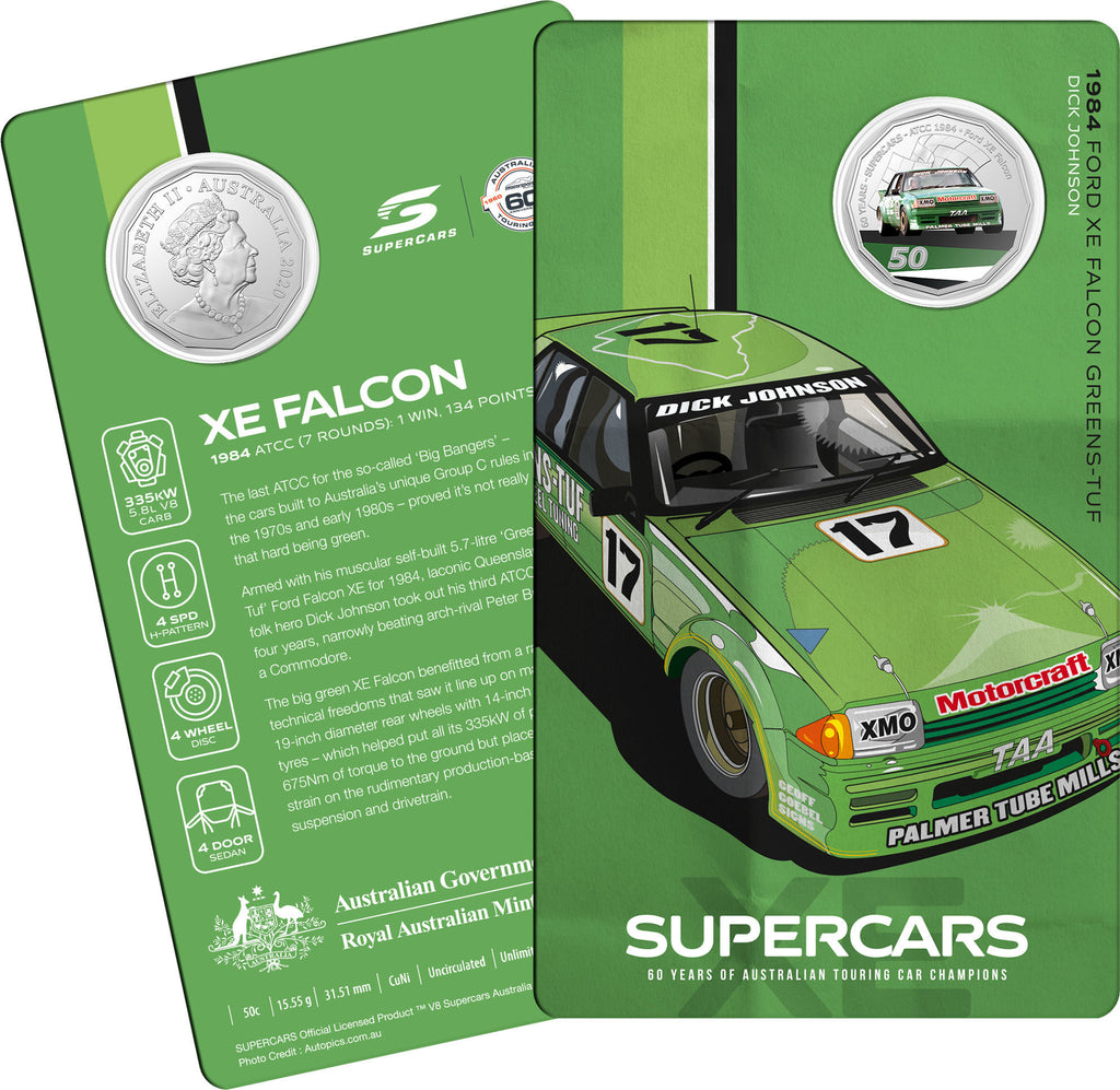 60 Years of Supercars - 1984 Ford XE Falcon - Uncirculated 50c Coin Carded
