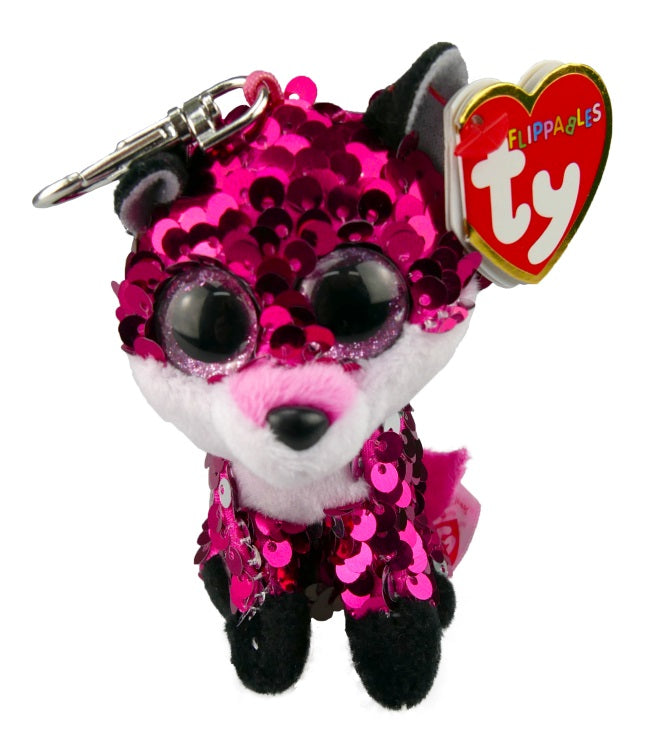 BEANIE BOOS CLIP ON FLIPPABLE JEWEL PINK FOX