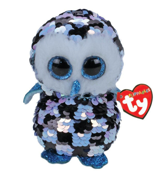 BEANIE BOOS MEDIUM SEQUINS TOPPER BLUE/BLACK OWL