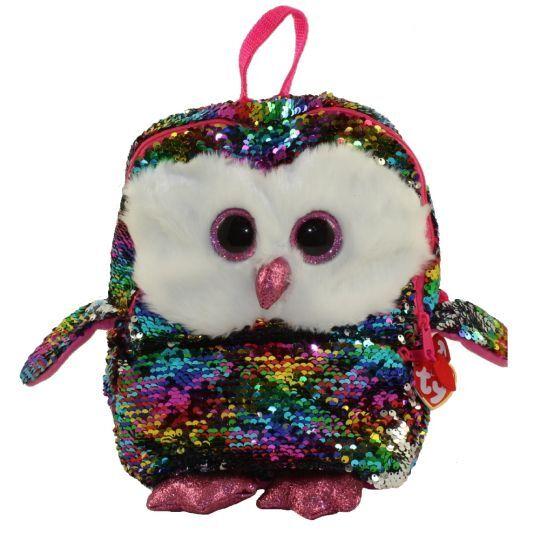 TY FASHION SEQUINS BACKPACK SQUARE OWEN OWL