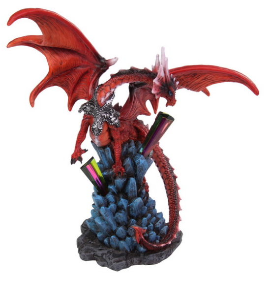 23cm Fire Dragon Guarding Crystal Cave