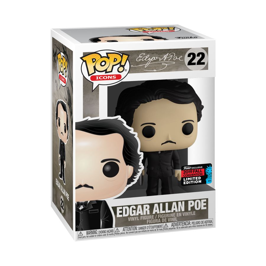 POP VINYL NYCC19 POP ICONS EDGAR ALLAN POE W/ BOOK #22