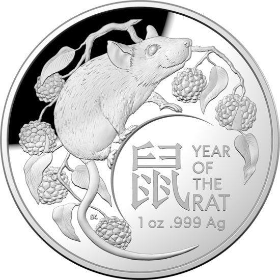 RAM 2020 YEAR OF THE RAT $5 PROOF AG DOMED