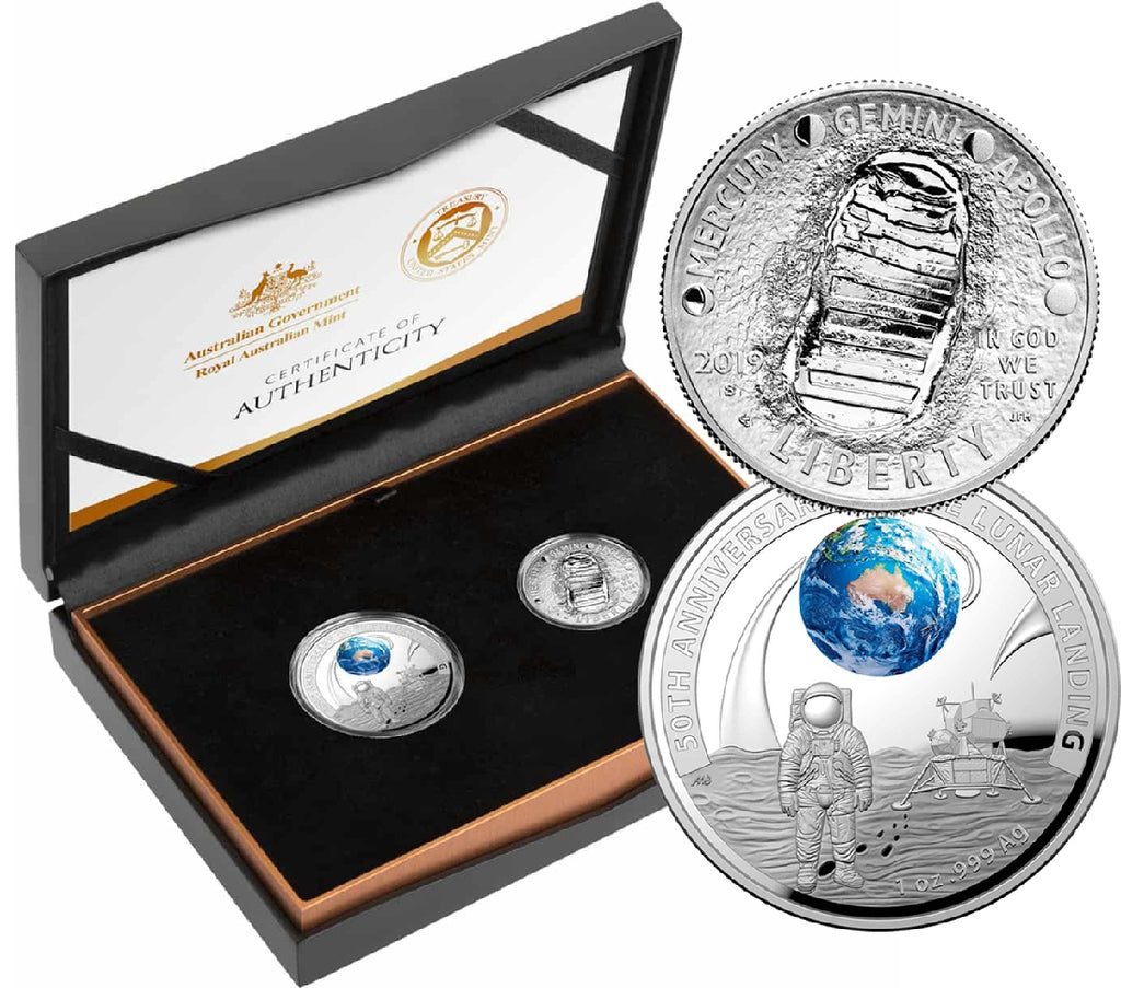 RAM 50TH ANNIVERSARY APOLLO 11 MOON LANDING TWO COIN PROOF SET 2019