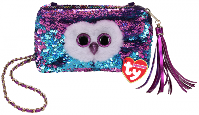 Ty Fashion Square Purse Sequin Moonlight - Owl