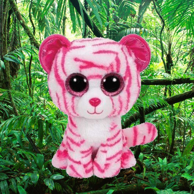 Asia the white and pink tiger. Pink sparkly eyes. Green, leafy, jungle background.