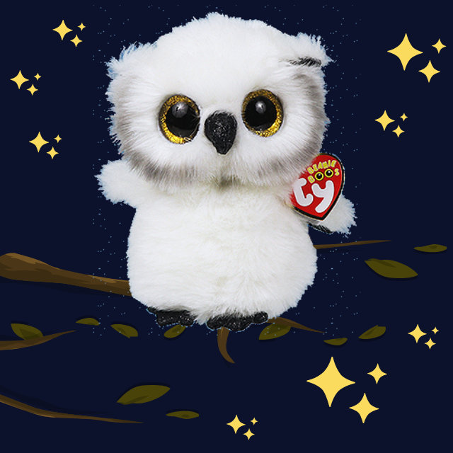 Austin the white, snowy owl. Yellow sparkly eyes. Night sky background with yellow stars and the owl sitting in a tree.