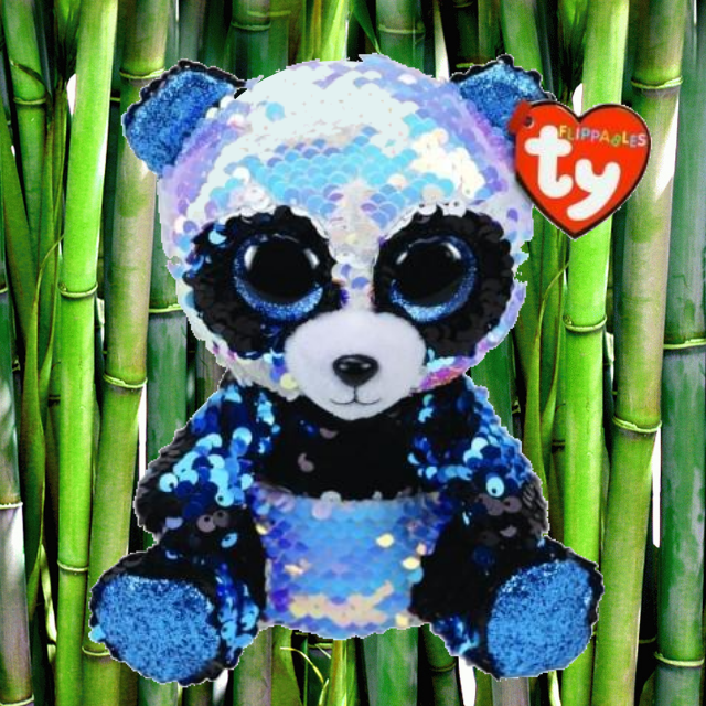 Bamboo the black and white panda. Flippable, sequin covered TY Beanie Boo. Blue sparkly eyes. Green, bamboo tree background.