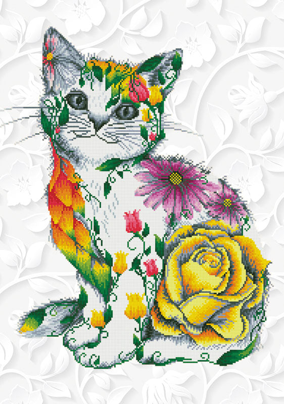 Flower Puss - 55x78cm - Diamond Dotz
