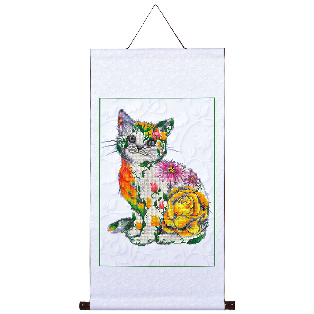 Flower Puss - 41x61 - Scroll Size 48.5x97cm - Diamond Dotz