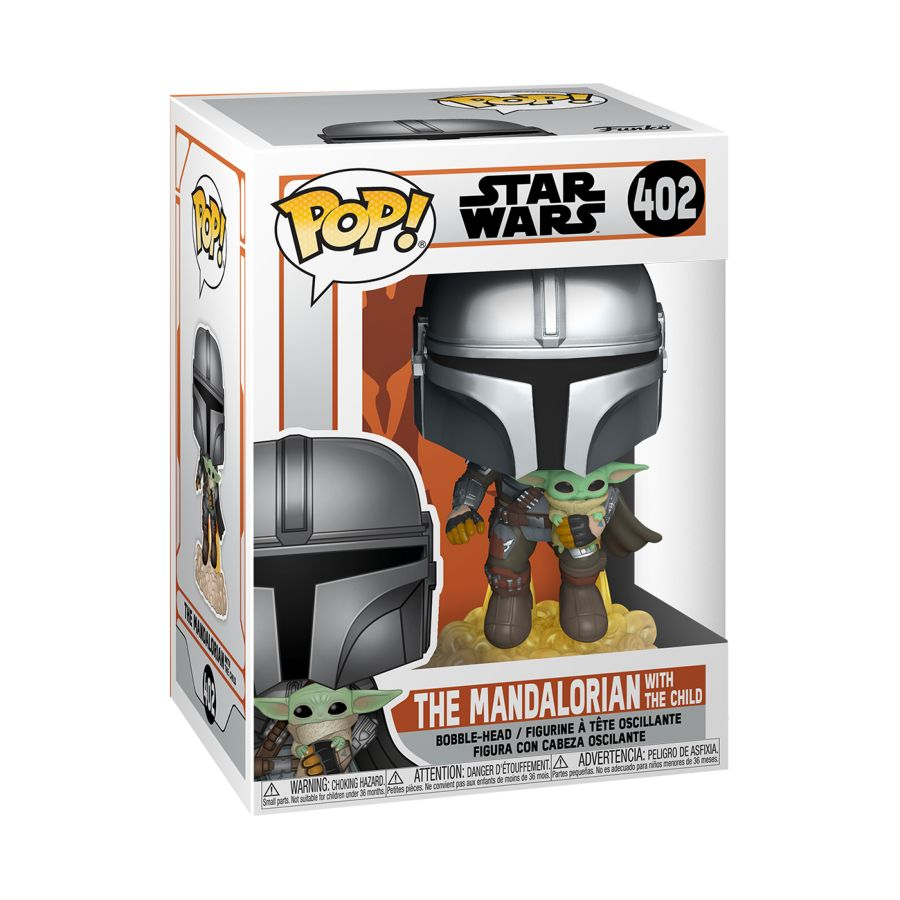 Funko Pop! Vinyl figure of boxed Star Wars Mandalorian, The Mandalorian W/Child Jetpack Flying #402. Collectable Figure at the Funporium.