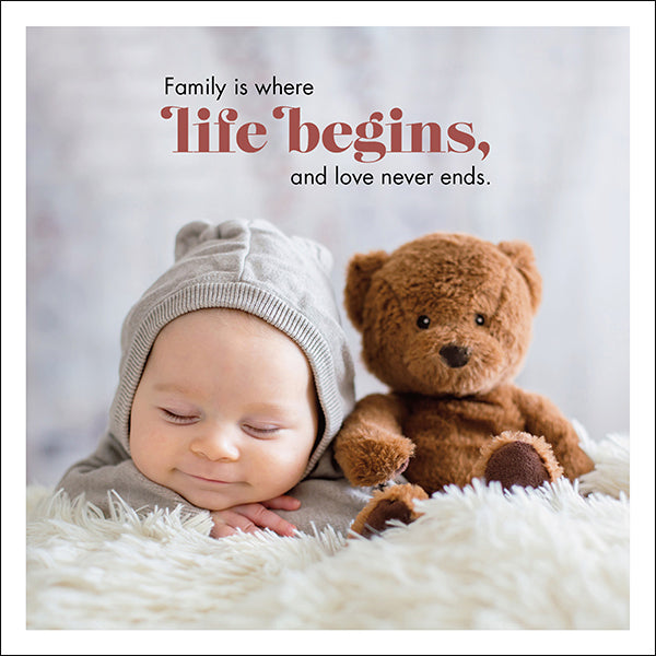 Affirmations Photographic Card - Family is Where Life Begins