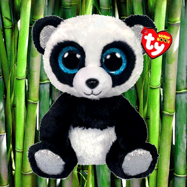 Bamboo the black and white panda TY Beanie Boo. Blue sparkly eyes. Green, bamboo tree background.