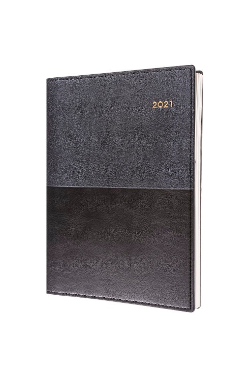 Vanessa - A4 - Day to Page - Black - 2021 Diary - Collins Debden