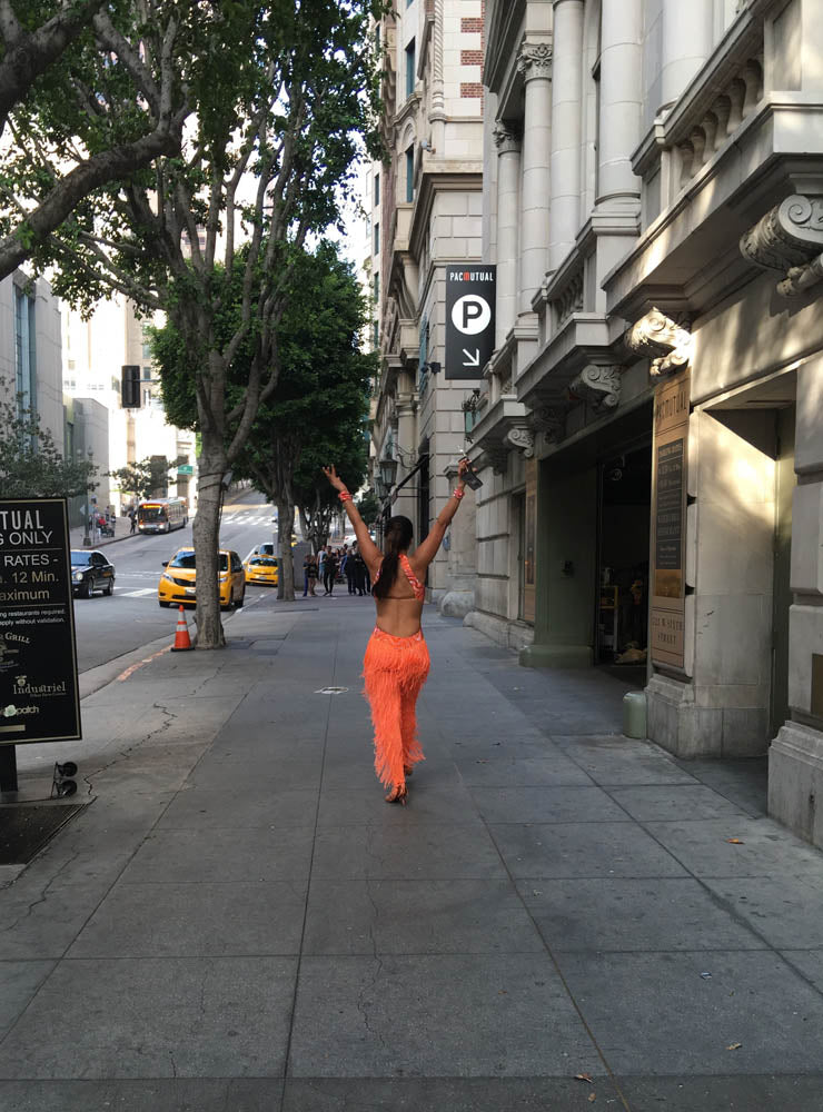 Esmeralda Gallemore orange dress on street 6118