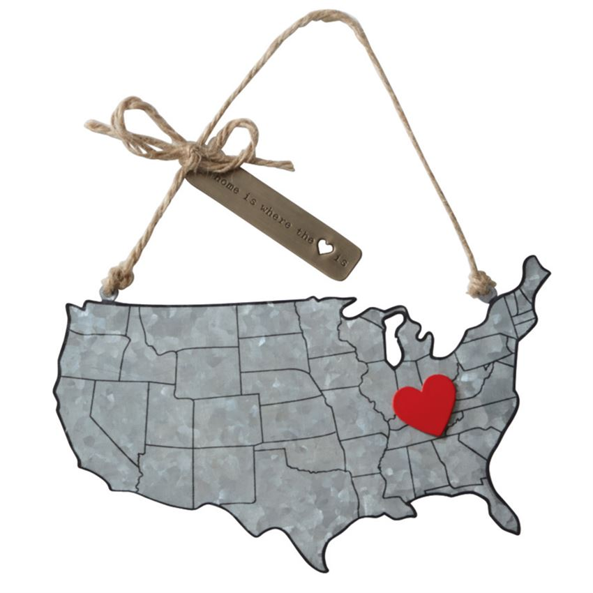 Home State Tin Map Ornament