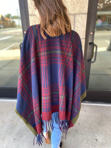 Navy and Red Mix Poncho
