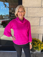 Load image into Gallery viewer, Fuchsia Drawstring Fuzzy Mock Neck