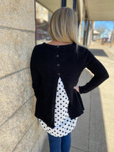Load image into Gallery viewer, Black Layered Polka Dot Sweater