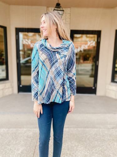River Oaks Petite Cowl Neck Top