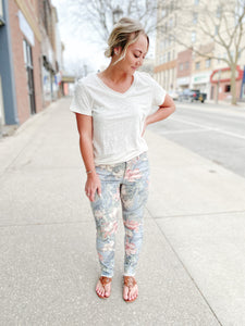Floral Raw Edge Pants
