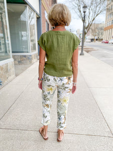 Floral Printed Crop Linen Pants