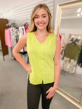 Load image into Gallery viewer, Charlie B Chevron V-Neck Tank- Keylime