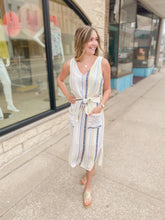 Load image into Gallery viewer, Striped Midi Dress with Tie & Pockets