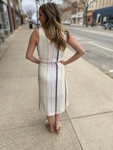 Striped Midi Dress with Tie & Pockets
