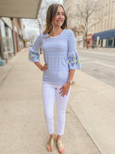Load image into Gallery viewer, Blue Stripe Top with Frill Sleeve