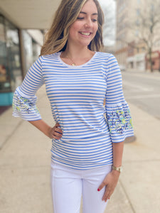 Blue Stripe Top with Frill Sleeve