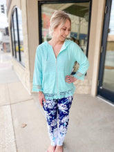 Load image into Gallery viewer, Slimsation Navy/Tiffany Floral Ankle Pants