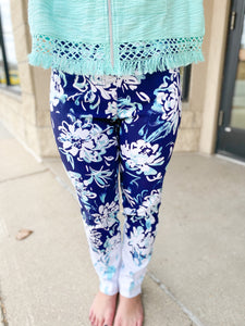Slimsation Navy/Tiffany Floral Ankle Pants