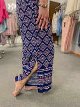 Load image into Gallery viewer, Navy Print Palazzo Pants