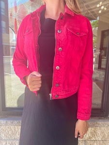 Red Denim Jacket with Zipper