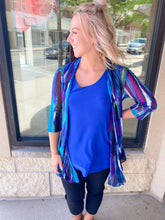 Load image into Gallery viewer, Printed Blue/Purple Cardigan