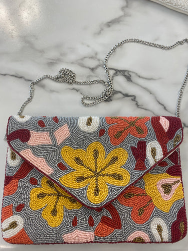 Beaded Floral Crossbody