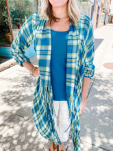 Load image into Gallery viewer, Teal Plaid Poncho Top
