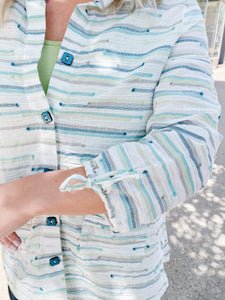 Striped Multi-Green 3/4 Sleeve Button Up