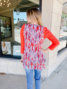 Red Printed Vest with Button