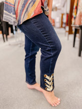 Load image into Gallery viewer, Indigo Cropped Jean with Lace Grommet